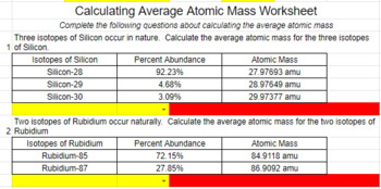 Calculating Average Atomic Mass Worksheet Distance Learning Tpt