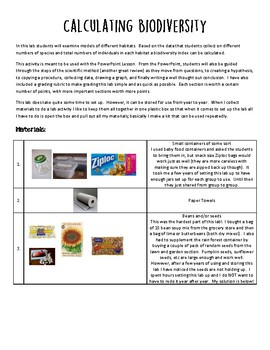 Calculating Biodiversity Lesson Plan Guide and Grading Rubric