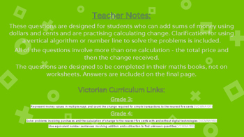Calculating Change Word Problems - Grade 3 & 4 AUSVELs and Victorian Curriculum