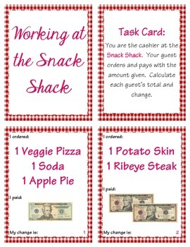 Calculating Change at the Snack Shack (2.MD.C.8 & 4.MD.A.2)