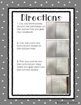 {CCSS.ELA-Literacy.L.2} Calculating Contractions Cut and Paste