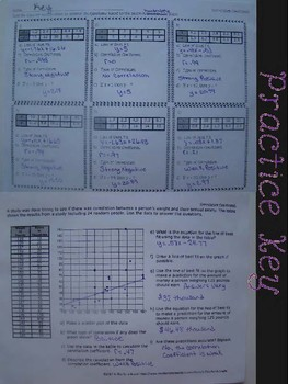 Calculating Correlation Coefficient Foldable, INB Activity, Practice, Exit
