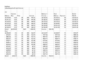 Calculating Credit Card Interest