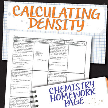 Calculating Density Chemistry Homework Worksheet