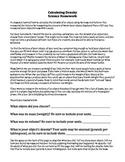 Calculating Density Homework - Weight, Mass, Volume, Density (Word & PDF)
