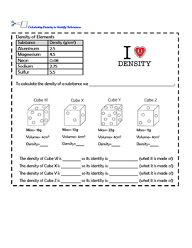 Calculating Density Interactive Notebook Worksheet