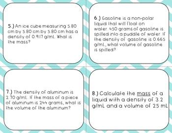 Calculating Density Task Cards