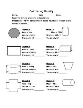 Calculating Density Worksheet
