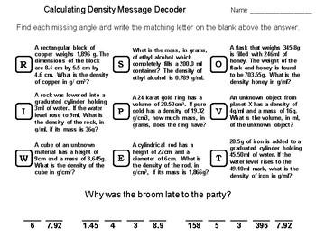 Calculating Density Worksheets Teachers Pay Teachers