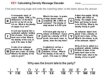 Calculating Density Worksheet: Math Message Decoder