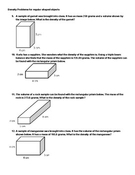 Calculating Density of Both Regular and Irregular Shaped Objects