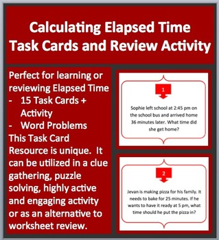 Calculating Elapsed Time Task Cards and UNIQUE Activity