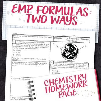 Calculating Empirical Formulas Two Ways Chemistry Homework Worksheet