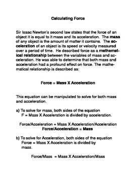 Calculating Force Common Core Reading and Writing Activities