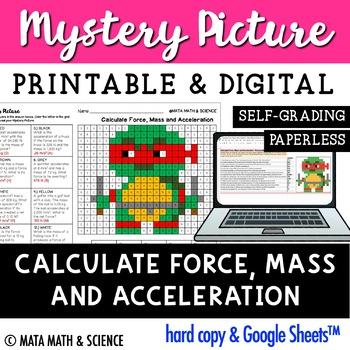 Calculate Force, Mass and Acceleration: Mystery Picture (Ninja Turtle)