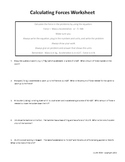Calculating Forces Worksheet 1