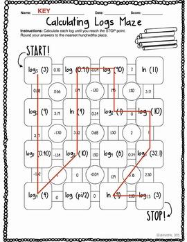 Calculating Logarithms Maze