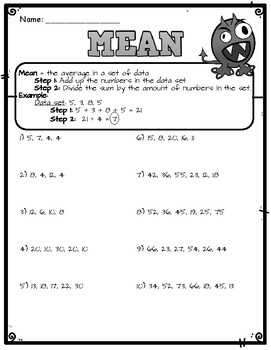 Calculating Mean Worksheet by Super Simple Sheets | TpT