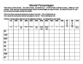 Calculating Mental Percentages