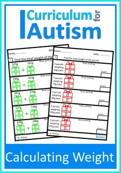Metric Weight Add Subtract Multiply Divide Autism Special Education