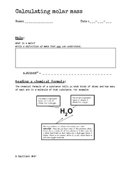 Molar Mass Worksheet | STEM Sheets