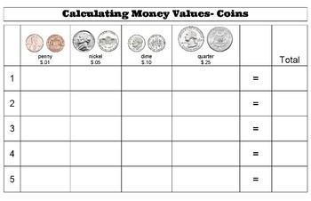 Calculating Money Values- Coins Mat