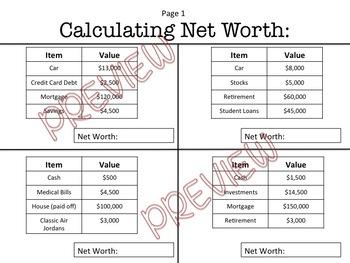 Calculating Net Worth Worksheet