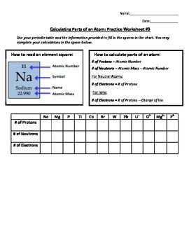 Calculating Parts of an Atom Practice Worksheet #3 by Heather Adkison