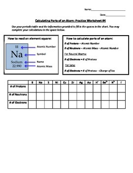 Calculating Parts of an Atom Practice Worksheet #4