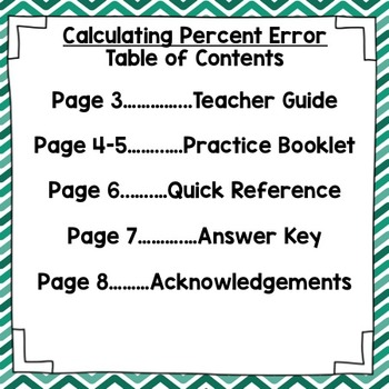 Calculating Percent Error Interactive Notebook Booklet