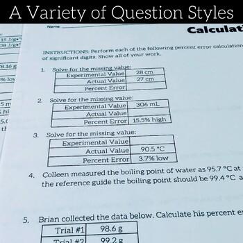 Calculating Percent Error Skills Practice Printable Worksheets Tpt