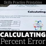 Calculating Percent Error Skills Practice Printable Worksheets