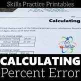 Calculating Percent Error Skills Practice Printable Worksheets