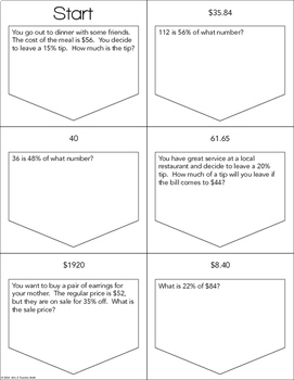 Percent Word Problems Ladder Activity