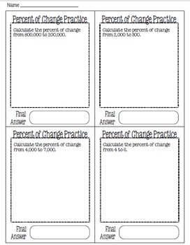 Calculating Percent of Change: Fold-Up Resource & More