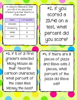 Calculating Percentages Task Cards