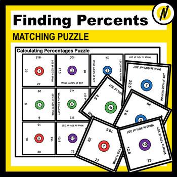 Fun Calculating Percents of a Quantity Matching Puzzle