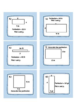 Calculating Perimeter and Side Lengths given perimeter for Rectangles