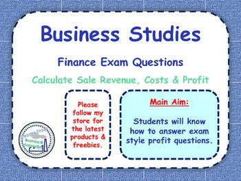 Calculating Profit - Exam Financial Questions - Business Studies & Economics