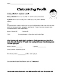 Calculating Profit Worksheet- also covers multiplication standard