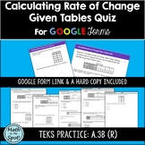 Calculating Rate of Change Given Tables Quiz for Google Forms