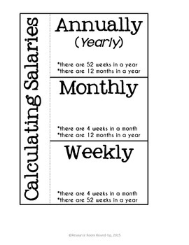Calculating Salary - Weekly, Monthly, & Yearly {INB Resource}