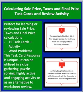 Calculating Sale Price, Taxes and Final Price - Task Cards