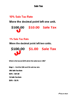 Calculating Sale Tax