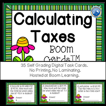 Calculating Sales Tax Boom Cards--Digital Tax Cards
