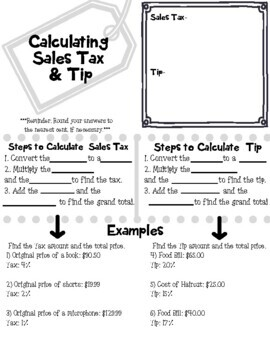 Calculating Sales Tax & Tip Sketch Notes and Practice
