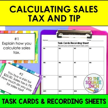 Calculating Sales Tax and Tip Task Cards