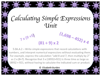 Calculating Simple Expressions Task Cards 5.OA.A.2