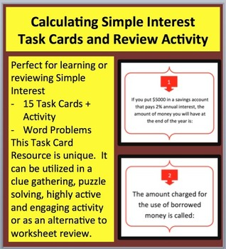 Calculating Simple Interest - FREEBIE - Task Cards and UNIQUE Activity