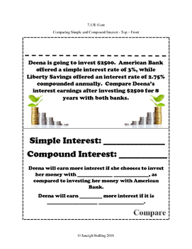Calculating Simple and Compound Interest INB TEKS 7.13E & 8.12D